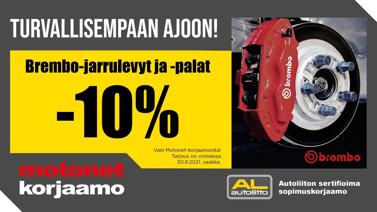 Syyskuun ajan Brembon jarrulevyista ja -paloista -10 %